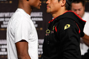 Boxers Floyd Mayweather Jr. (L) and Juan Manuel Marquez face off during their final news conference at the MGM Grand Hotel/Casino September 16, 2009 in Las Vegas, Nevada. The two will fight at the MGM Grand Garden Arena on September 19 in Las Vegas.