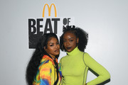 """Teyana Taylor and Justine Skye attend the kick off of McDonald's """"Beat Of My City"""" at Pier 36 on September 21, 2019 in New York City."""