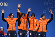 Bronze medalists Koen Verweij, Patrick Roest, Sven Kramer and Jan Blokhuijsen of the Netherlands celebrate during the medal ceremony for Speed Skating - Men's Team Pursuit on day 13 of the PyeongChang 2018 Winter Olympic Games at Medal Plaza on February 22, 2018 in Pyeongchang-gun, South Korea.