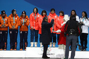 Gold medalists Miho Takagi, Ayaka Kikuchi, Ayano Sato and Nana Takagi of Japan are given their medals during the medal ceremony for Speed Skating - Ladies' Team Pursuit on day 13 of the PyeongChang 2018 Winter Olympic Games at Medal Plaza on February 22, 2018 in Pyeongchang-gun, South Korea.