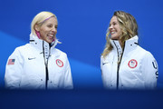 Gold medalists Kikkan Randall and Jessica Diggins of the United States celebrate during the medal ceremony for Cross-Country Skiing - Ladies' Team Sprint Free on day 13 of the PyeongChang 2018 Winter Olympic Games at Medal Plaza on February 22, 2018 in Pyeongchang-gun, South Korea.