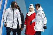 Gold medalist David Wise of the United States and silver medalist Alex Ferreira of the United States celebrate during the medal ceremony for Freestyle Skiing - Men's Ski Halfpipe on day 13 of the PyeongChang 2018 Winter Olympic Games at Medal Plaza on February 22, 2018 in Pyeongchang-gun, South Korea.