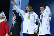 (L-R) Bronze medalist Nico Porteous of New Zealand, gold medalist David Wise of the United States and silver medalist Alex Ferreira of the United States celebrate during the medal ceremony for Freestyle Skiing - Men's Ski Halfpipe on day 13 of the PyeongChang 2018 Winter Olympic Games at Medal Plaza on February 22, 2018 in Pyeongchang-gun, South Korea.