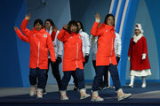 Gold medalists Miho Takagi, Ayaka Kikuchi, Ayano Sato and Nana Takagi of Japan walk on stage during the medal ceremony for Speed Skating - Ladies' Team Pursuit on day 13 of the PyeongChang 2018 Winter Olympic Games at Medal Plaza on February 22, 2018 in Pyeongchang-gun, South Korea.