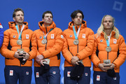 Bronze medalists Koen Verweij, Patrick Roest, Sven Kramer and Jan Blokhuijsen of the Netherlands stand on the podium during the medal ceremony for Speed Skating - Men's Team Pursuit on day 13 of the PyeongChang 2018 Winter Olympic Games at Medal Plaza on February 22, 2018 in Pyeongchang-gun, South Korea.