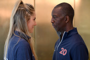 Laureus Academy Member Missy Franklin and Michael Johnson pose during media interviews at the Mercedes Benz Building prior to the Laureus World Sports Awards on February 16, 2020 in Berlin, Germany.