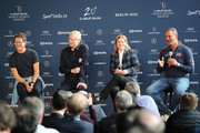 (L-R) Laureus Ambassador Fabio Capello, Arsene Wenger,Former Head Coach Jill Ellis of the Laureus World Team of the Year nominee USA Women's Football Team, Laureus Academy Member Ruud Gullit during the Football Coaches discussion at the Mercedes Benz Building prior to the Laureus World Sports Awards on February 17, 2020 in Berlin, Germany.