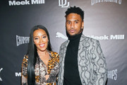 Designer Angela Simmons and singer-songwriter Trey Songz attend Meek Mill and PUMA celebrate CHAMPIONSHIPS album release party at PHD at the Dream Downtown on November 29, 2018 in New York City.