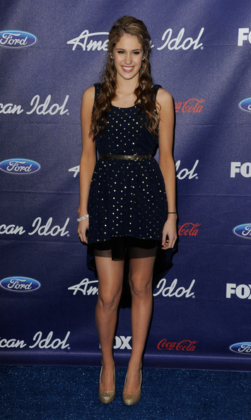 Singer Shannon Magrane arrives at Fox's American Idol finalist party at The Grove on March 1, 2012 in Los Angeles, California.
