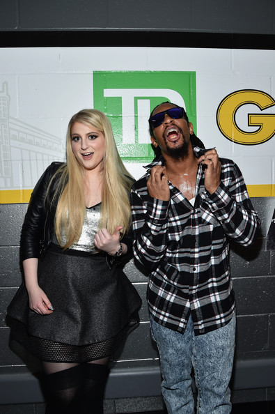 KISS 108's Jingle Ball 2014 - Backstage [yellow,fashion,footwear,event,room,photography,performance,fashion accessory,style,t-shirt,meghan trainor,lil jon,boston,massachusetts,td garden,kiss 108,l,market basket supermarkets,jingle ball 2014 - backstage]