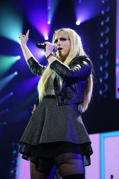 KISS 108's Jingle Ball 2014 - Show [performance,entertainment,music artist,performing arts,singing,singer,stage,event,thigh,music,meghan trainor,boston,massachusetts,td garden,kiss 108,market basket supermarkets,jingle ball 2014 - show]