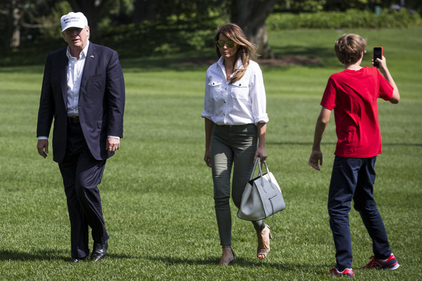 The Trumps Return to the White House From Camp David