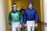 Damian Lane rider of Humidor and Mark Zahra rider of Happy Clapper before riding in Race 7,  during Memsie Stakes Day Melbourne Racing at Caulfield Racecourse on September 1, 2018 in Melbourne, Australia.
