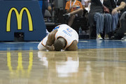 Raymond Felton #2 of the Oklahoma City Thunder lays on the floor after he was injured playing against the Melbourne United during the second half of a NBA preseason game at the Chesapeake Energy Arena on   October 8, 2017 in Oklahoma City, Oklahoma. NOTE TO USER: User expressly acknowledges and agrees that, by downloading and or using this photograph, User is consenting to the terms and conditions of the Getty Images License Agreement.