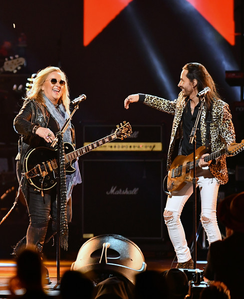 2020 MusiCares Person Of The Year Honoring Aerosmith - Show [musicares person of the year,performance,musician,entertainment,music,music artist,performing arts,concert,event,guitar,public event,nuno bettencourt,melissa etheridge,l-r,los angeles convention center,california,west hall,aerosmith,honoring aerosmith - show,nuno bettencourt,guitar,singer-songwriter,concert,musician,artist,aerosmith,photography,bassist,musical ensemble]