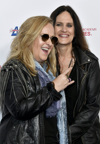 MusiCares Person Of The Year Honoring Aerosmith - Arrivals [eyewear,hair,jacket,leather jacket,leather,sunglasses,hairstyle,glasses,fashion,textile,arrivals,musicares person of the year,linda wallem,melissa etheridge,l-r,los angeles convention center,west hall,california,aerosmith,linda wallem,melissa etheridge,nurse jackie,celebrity,musicares person of the year,showtime,photograph,actor]