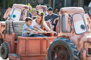 ANAHEIM, CA  SEPTEMBER 30: In this handout photo provided by Disneyland, actress Melissa Joan Hart celebrates her son Tucker Wilkersons sixth birthday at Maters Graveyard JamBOOree in Cars Land at Disneys California Adventure Park on September 30, 2018 in Anaheim, California.