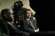 (L-R) U.S. Rep. Allen West (R-FL) and Sen. Rand Paul (R-KY) listen during a Tea Party Town Hall meeting February 8, 2011 at the National Press Club in Washington, DC. The town hall meeting was held by the Tea Party Express and Tea Party HD to address issues Tea Party members were concerned over.