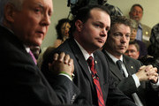 (L-R) U.S. Sen. Orrin Hatch (R-UT), Sen. Mike Lee (R-UT) and Sen. Rand Paul (R-KY) listen during a Tea Party Town Hall meeting February 8, 2011 at the National Press Club in Washington, DC. The town hall meeting was held by the Tea Party Express and Tea Party HD to address issues Tea Party members were concerned over.