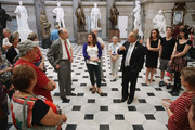 Sen. Charles Grassley (R-IA) and Rep. Steve King (R-IA) work together to give a tour of the U.S. Captiol to a group of constituents from Clear Lake, Iowa, in Statuary Hall October 4, 2013 in Washington, DC. Because of the federal government partial shutdown, many members of Congress have furloughed their staff and the only way guests can see the Capitol is while being escorted by their representatives.