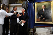 Former Speaker of the House Dennis Hastert (R) reacts to the unveiling of his portrait as Speaker of the House Nancy Pelosi (D-CA) (L), Minority Whip Eric Cantor (R-VA) and Minority Leader John Boehner (R-OH) notice that Hastert is wearing the same tie as in the painting at the U.S. Captiol July 28, 2009 in Washington, DC. Hastert is the longest serving Republican speaker from 1999-2007.