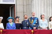 Camilla, Duchess of Cornwall, Queen Elizabeth II, Meghan, Duchess of Sussex, Prince Harry, Duke of Sussex, Prince William Duke of Cambridge, Catherine, Duchess of Cambridge and Princess Anne, Princess Royal watch the RAF 100th anniversary flypast from the balcony of Buckingham Palace on July 10, 2018 in London, England.