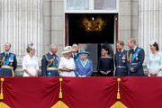 (L-R) Prince Edward, Earl of Wessex, Sophie, Countess of Wessex, Prince Charles, Prince of Wales, Camilla, Duchess of Cornwall, Prince Andrew, Duke of York, Queen Elizabeth II, Meghan, Duchess of Sussex, Prince Harry, Duke of Sussex, Prince William, Duke of Cambridge and Catherine, Duchess of Cambridge watch the RAF flypast on the balcony of Buckingham Palace, as members of the Royal Family attend events to mark the centenary of the RAF on July 10, 2018 in London, England.
