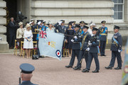 (L-R) Princess Anne, Princess Royal, Camilla, Duchess of Cornwall, Prince William, Duke of Cambridge, Catherine, Duchess of Cambridge, Prince Harry, Duke of Sussex, Meghan, Duchess of Sussex, Prince Andrew, Duke of York, Sophie, Countess of Wessex and Prince Edward, Earl of Wessex during the RAF 100 ceremony at Buckingham Palace, as members of the Royal Family attend events to mark the centenary of the RAF on July 10, 2018 in London, England.