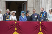 (L-R)  Sophie, Countess of Wessex, Prince Charles, Prince of Wales, Camilla, Duchess of Cornwall,  Queen Elizabeth II, Meghan, Duchess of Sussex, Prince Harry, Duke of Sussex, Prince William, Duke of Cambridge and Catherine, Duchess of Cambridge watch the RAF flypast on the balcony of Buckingham Palace, as members of the Royal Family attend events to mark the centenary of the RAF on July 10, 2018 in London, England.