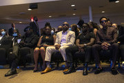 Tyrese Gibson, Tiffany Haddish, Will Packer, Kevin Hart, and Ludacris attend a memorial service for George Floyd at North Central University on June 4, 2020 in Minneapolis, Minnesota. A number of celebrities and politicians joined Floyd's family for the service.