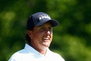 Phil Mickelson smiles on the first hole during the final round of the Memorial Tournament presented by Nationwide Insurance at Muirfield Village Golf Club on June 1, 2014 in Dublin, Ohio.