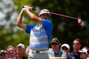 Bubba Watson hits a tee shot on the first hole during the final round of the Memorial Tournament presented by Nationwide Insurance at Muirfield Village Golf Club on June 1, 2014 in Dublin, Ohio.