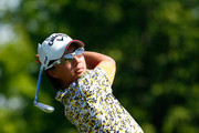 Ryo Ishikawa of Japan plays a shot on the third hole during the final round of the Memorial Tournament presented by Nationwide Insurance at Muirfield Village Golf Club on June 1, 2014 in Dublin, Ohio.