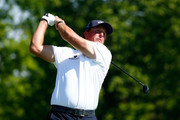 Phil Mickelson plays a shot on the fifth hole during the final round of the Memorial Tournament presented by Nationwide Insurance at Muirfield Village Golf Club on June 1, 2014 in Dublin, Ohio.