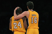 Pau Gasol #16 of the Los Angeles Lakers puts his arm around teammate Kobe Bryant #24 during the third quarter against the Memphis Grizzlies at Staples Center on November 2, 2010 in Los Angeles, California. The Lakers defeated the Grizzlies 124-105. NOTE TO USER: User expressly acknowledges and agrees that, by downloading and or using this photograph, User is consenting to the terms and conditions of the Getty Images License Agreement.