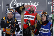 (FRANCE OUT) (L-R) Tomas Kraus of the Czech Republic (3rd place), Xavier Kuhn of France (1st place) and Stanley Hayer of Canada (2nd place) pose after the FIS Freestyle World Cup Men's Ski Cross on January 9, 2010 in Les Contamines, France.