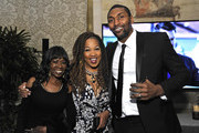 Kym Whitley (C) and Metta World Peace (R) attend the Mercedes-Benz USA Awards Viewing Party at Four Seasons Los Angeles at Beverly Hills on February 24, 2019 in Los Angeles, California.