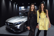 Alessandra Ambrosio and Izabel Goulart attend amfAR Milano 2014 as a part of Milan Fashion Week Womenswear Spring/Summer 2015 on September 20, 2014 in Milan, Italy.