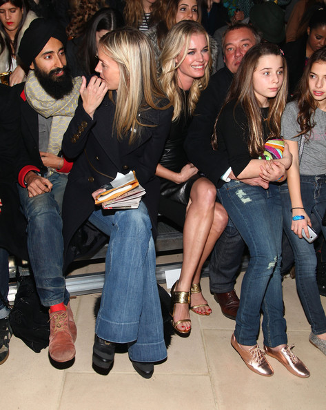 Cynthia Rowley - Front Row - Fall 2012 Mercedes-Benz Fashion Week [jeans,event,denim,nightclub,footwear,party,leg,long hair,thigh,drink,cynthia rowley,hunter hill,meredith melling burke,rebecca romijn,waris ahluwalia,front row,l-r,iac building,mercedes-benz fashion week,fashion show]