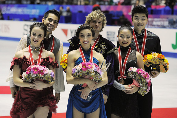 Meryl Davis (L-R) Anna Cappellini and Luca Lanotte of Italy and Meryl Davis and Charlie White of The United States and Maia Shibutani and Alex Shibutani of The United States pose for photographs during day three of ISU Grand Prix of Figure Skating 2013/2014 NHK Trophy at on November 10, 2013 in Tokyo, Japan.