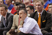 Head coach Billy Donovan of the Florida Gators calls to the players during second half action against the Fresno State Bulldogs during the MetroPCS Orange Bowl Basketball Classic on December 21, 2013 at the BB&T Center in Sunrise, Florida. Florida defeated Fresno State 66-49.