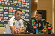 Marco Fabian and Jesus Gallardo of Mexico speak during a press conference ahead Mexico's National Team match agains Costa Rica at Hotel Milenium on October 10, 2018 in Monterrey, Mexico.