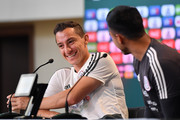 Andres Guardado of Mexico, gestures during a press conference at Training Base Novogorsk-Dynamo, on June 29, 2018 in Moscow, Russia.