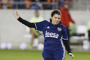 Mia Hamm Kick in for Houston Charity Soccer Match