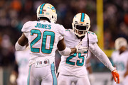 Reshad Jones #20 of the Miami Dolphins celebrates with Louis Delmas #25 after intercepting a ball intended for Jeff Cumberland #85 of the New York Jets late in the fourth quarter during their game at MetLife Stadium on December 1, 2014 in East Rutherford, New Jersey.