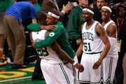 Paul Pierce #34 and Mickael Pietrus #28 of the Boston Celtics celebrate after they won 93-91 in overtime against the Miami Heat in Game Four of the Eastern Conference Finals in the 2012 NBA Playoffs on June 3, 2012 at TD Garden in Boston, Massachusetts. NOTE TO USER: User expressly acknowledges and agrees that, by downloading and or using this photograph, User is consenting to the terms and conditions of the Getty Images License Agreement.