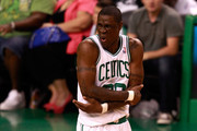 Mickael Pietrus #28 of the Boston Celtics reacts against the Miami Heat in Game Six of the Eastern Conference Finals in the 2012 NBA Playoffs on June 7, 2012 at TD Garden in Boston, Massachusetts. NOTE TO USER: User expressly acknowledges and agrees that, by downloading and or using this photograph, User is consenting to the terms and conditions of the Getty Images License Agreement.