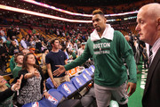 Jared Sullinger #7 of the Boston Celtics walks off the court after defeating the Miami Heat at TD Garden on April 13, 2016 in Boston, Massachusetts. NOTE TO USER: User expressly acknowledges and agrees that, by downloading and/or using this photograph, user is consenting to the terms and conditions of the Getty Images License Agreement.