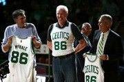 Members of the Boston Celtics 1986 championship team Kevin McHale, Bill Walton and Danny Ainge are honored at halftime of the game between the Boston Celtics and Miami Heat at TD Garden on April 13, 2016 in Boston, Massachusetts. NOTE TO USER: User expressly acknowledges and agrees that, by downloading and/or using this photograph, user is consenting to the terms and conditions of the Getty Images License Agreement.
