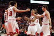 (L-R) Carlos Boozer #5, Joakim Noah #13, Derrick Rose #1, Luol Deng #9 and Kyle Korver #23 of the Chicago Bulls huddle up in the first half against the Miami Heat in Game One of the Eastern Conference Finals during the 2011 NBA Playoffs on May 15, 2011 at the United Center in Chicago, Illinois. NOTE TO USER: User expressly acknowledges and agrees that, by downloading and or using this photograph, User is consenting to the terms and conditions of the Getty Images License Agreement